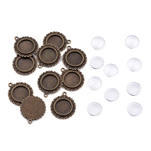 Pandahall 10Sets Tibetan Style Alloy Pendant Cabochon Settings Clear Glass Cabochons Cover Tray Bezel Blank Flower Antique Bronze Tray: 16mm Cadmium Free & Nickel Free & Lead Free