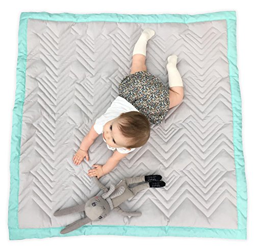 Mama Designs Luxury Quilted Padded Baby Playmat, 100% Cotton, in Grey with Turquoise Trim. 100cm x 100cm