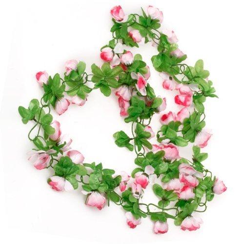 ma-on Artificial rosa guirnalda flor para casa boda jardín decoración (rosa)