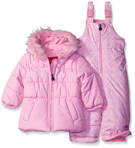 London Fog Girls' Infant Snowflake Embroidery 2 Piece Heavyweight Snowsuit, Pink, 24MO
