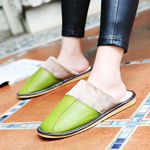 Soggiorno fankou Autunno Inverno cotone pantofole indoor uomini e donne coppie home pavimenti in legno caldo e pantofole inverno gancio ,43-44, verde scuro