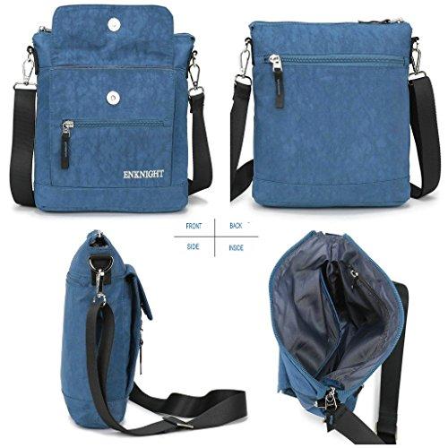 Mujer Bolsa marron ENKNIGHT Bolsa Azul Bolso del Viaje de Nylon Bandolera Mensajero para Monedero wFqZ8BF6nf