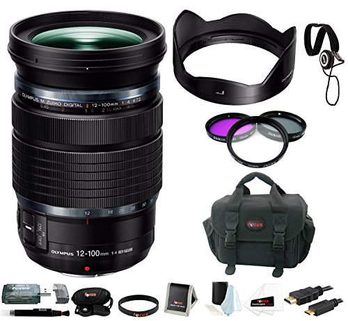 Olympus M.Zuiko Digital ED 12-100mm f/4 IS PRO Lens with Focus Accessory Bundle (Bag Olympus Gadget)