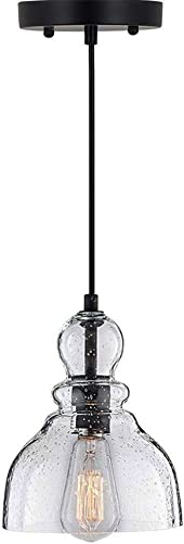Lampundit Industrial Mini Pendant Lighting with Handblown Clear Seeded Glass Shade, Adjustable Edison Vintage Ceiling Light Fixture for Kitchen Island, Restaurants, Farmhouse, 1-Pack