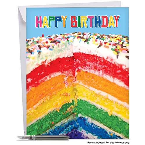 "J6565FBDG Jumbo Birthday Greeting Card: Rainbow Cakes, Featuring an Image of Delicious and Delectable Multi Hued Layers of a Baked Cake, With Envelope (Extra Large Size: 8.5"" x 11"")"