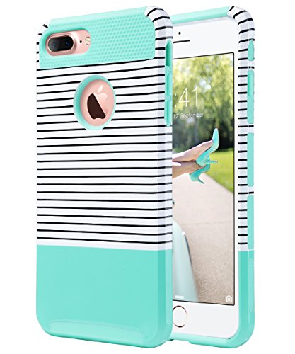 ULAK iPhone 7 Plus Case, Slim Flexible TPU Rugged Rubber Anti Scratch Hard Cover Thin Case with Design for Apple iPhone 7 Plus 5.5 inch- Mint Minimal Stripes