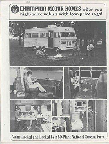 Amazon com: 1974 Champion Motorhome RV Camper Brochure