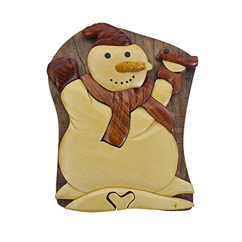 Handmade Wooden Art Intarsia TRICK SECRET Snowman Winter Christmas Puzzle Trinket Box (3384) (g2)
