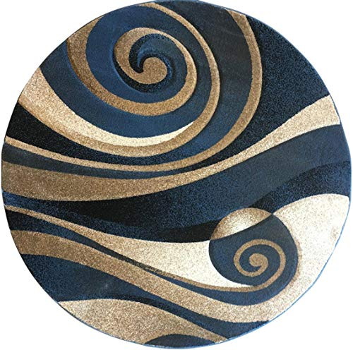 Modern Round Area Rug Blue Sculpture Design 258(7 Feet 8 inches X7 Feet 8 inches Round) ()