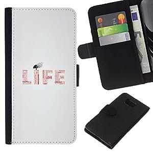 iBinBang / Flip Funda de Cuero Case Cover - VIDA - MENSAJE TIPOGRAFÍA - Samsung ALPHA G850