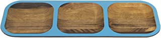 "product image for 15"" Handcrafted WUD Walnut Wood Hors d'Oeuvres Tasting Tray with Dark Blue Trim"