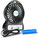 Mini Battery Operated Fan,Portable Personal Handheld Tiny Fan Powered by 2600mAh Rechargeable Battery or USB,Small Desk Fan for Outdoor Camping Travel Office Laptop Kid Child Study Work Table Car Seat