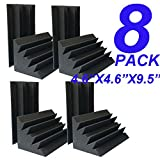 Xin&LG 8 PCS 4.6''x4.6''x9.4'' Sale Acoustic Foam Black Bass trap Soundproof foam