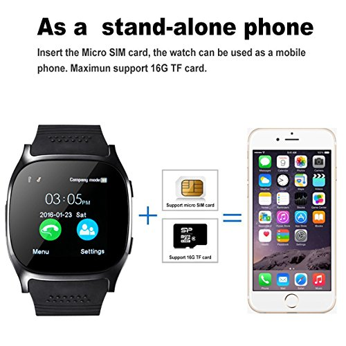 Smart Watch,Hizek Smart Wrist Watch with Camera Pedometer Sport Tracker 1.54 inch Touch Screen Support TF SIM Card Slot for Android and iOS iPhone Samsung LG (Black) by Hizek (Image #3)