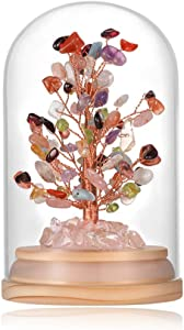 Natural Healing Gemstone Crystal Bonsai Fortune Money Tree for Good Luck, Wealth & Prosperity-Home Office Decor Spiritual Gift(Size 4.7 Inches)