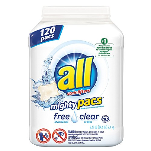 all Mighty Pacs Free & Clear Laundry Detergent (120 ct.) (pack of 6) by All