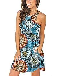INIBUD Summer Beach Dresses for Women Sleeveless Racerback T Shirt Tank Dress with Pockets