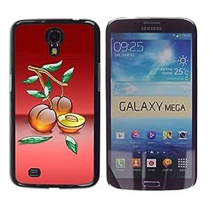 Caucho caso de Shell duro de la cubierta de accesorios de protección BY RAYDREAMMM - Samsung Galaxy Mega 6.3 - Fruit Macro Peaches