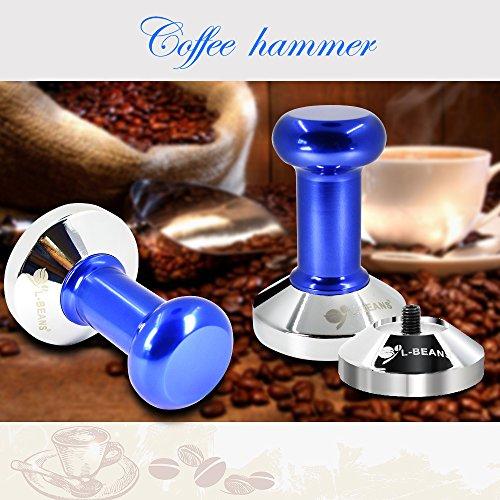Coffee Tamper Machine,DLAND 57.5mm Diameter Stainless Steel Flat Base Grip Handle Bean Barista Espresso Tamper pressure Kitchen Accessories