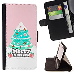 Jordan Colourful Shop - Christmas tree pink winter For Apple Iphone 6 PLUS 5.5 - Leather Case Absorci???¡¯???€????€????????&cen