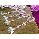 25 Pc Light Pink Color Baptism Favors with Angels Mini Rosaries Silver Plated Acrylic Beads/ Recuerditos De Bautismo/ Christening Favors/ Decenarios/ Decades/ Finger Rosaries