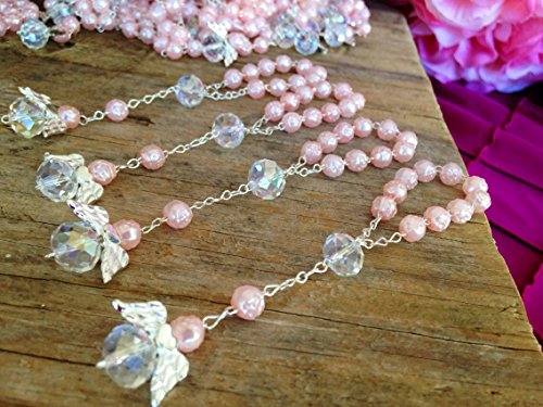 25 Pc Light Pink Color Baptism Favors with Angels Mini Rosaries Silver Plated Acrylic Beads/Recuerditos De Bautismo/Christening Favors/Decenarios/Decades/Finger Rosaries (Angels Bead Party)