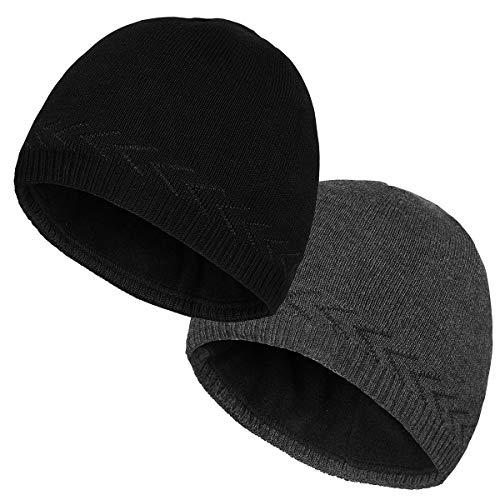 OMECHY Mens Winter Warm Knitting Hats Plain Skull Beanie Cuff Toboggan Knit Cap 4 Colors (Black Carbonarius)