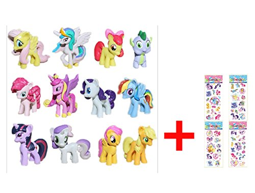 Pony Gift - Fun for Life - 12 piece Set My Little Pony Toys Figurines Playset Multi with ONE random My Little Pony Sticker Gift