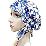 Zando Womens Sleeping Bonnet Pure Silk Head Wrap Cap Soft Satin Lined Cap Hat Warm Many Colors