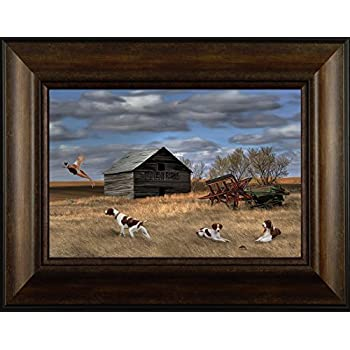 Amazon.com: Roadside by Jim Hansel 17x21 Pheasants Farm Barn Framed ...