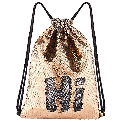 ICOSY Mermaid Sequin Bag Magic Reversible Sequin Drawstring Backpack Glitter Dance Bags Flip Sequins Backpack Bags Shining Sports Backpack for Kids Adults (Champagne/Silver, 13.8