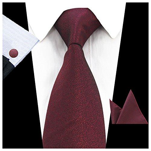 Maroon Mens Cufflinks (JEMYGINS Maroon Necktie Tie and Pocket Square Cufflink Set for Men (Maroon))