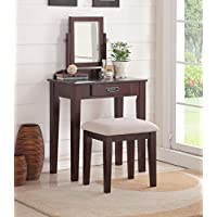 Poundex F4140 Bobkona Stephanie Vanity Set with Stool, Espresso