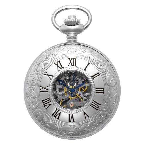 Gotham Men's Silver-Tone 17 Jewel Mechanical Exhibition Pocket Watch # GWC14040S ()