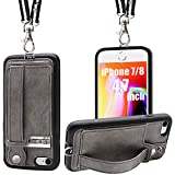 TOOVREN iPhone 7/8 Wallet Case Lanyard Neck Strap iPhone 7/8 TPU Protective Purse Case Cover with Kickstand Leather PU Card Holder Adjustable Detachable Necklace for Anti-Lost and Outdoors Grey