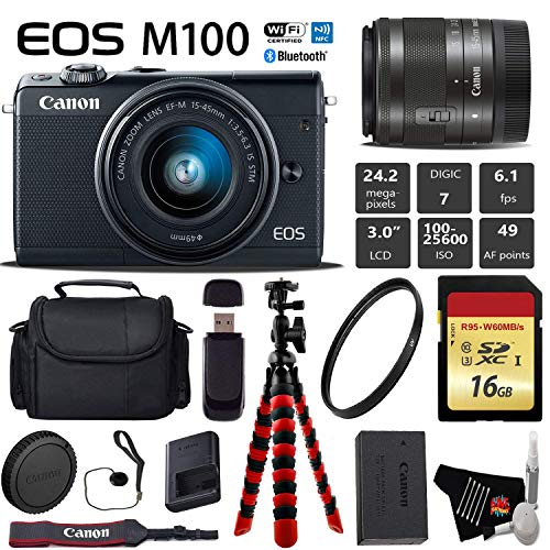 Canon EOS M100 Mirrorless Digital Camera (Black) with 15-45mm Lens + Flexible Tripod + UV Protection Filter + Professional Case + Card Reader – International Version
