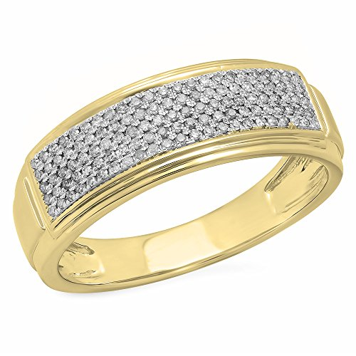 0.30 Carat (ctw) 10K Yellow Gold Round White Diamond Men's Hip Hop Wedding Band 1/3 CT (Size 13) by DazzlingRock Collection