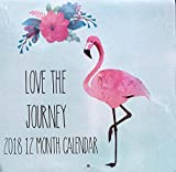 Sagebrush Fine Art 12 Month 2018 Wall Calendar, Pink Flamingo, Love the Journey