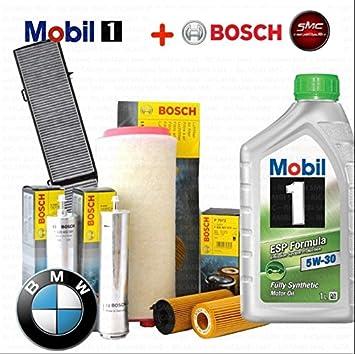Kit Tagliando aceite Mobil 1 ESP 5 W30 6lt 4 filtros Bosch (1457429185, 1457433588, f026402085, 1987432424): Amazon.es: Coche y moto