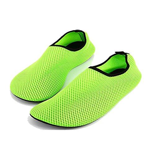 KENSBUY Unisex Mesh Wet Sea Skin Slip-On Sock,Yoga,Gym,Excersise,Outdoor,Beach Aqua Shoe Green