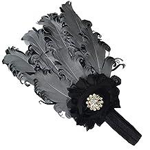 Arlai 1 pcs Baby's Flower Headbands Gray Feather Headwear Hair Band