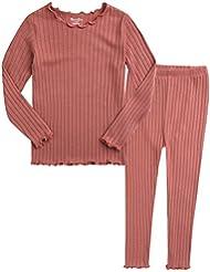 Vaenait baby Little Girls Boys Toddler Kids Unisex Soft Comfy Modal Tencel Shirring Sleepwear Pajamas Pjs 2pcs Set