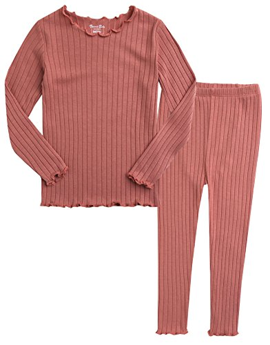2 Ribbed Pajama Set Piece - Vaenait baby Kids Girls Long Sleeve Modal Sleepwear Pajamas 2pcs Set Shirring Pink L