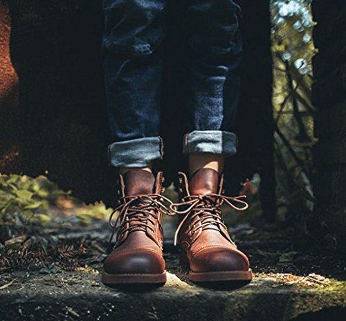 Chaussures Retro Cuir OEMPD Joker Hommes Martin Boots Boots en Work Brown XxqwC0ZwF