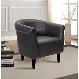 Amazon Com Mainstays Faux Leather Bucket Accent Chair