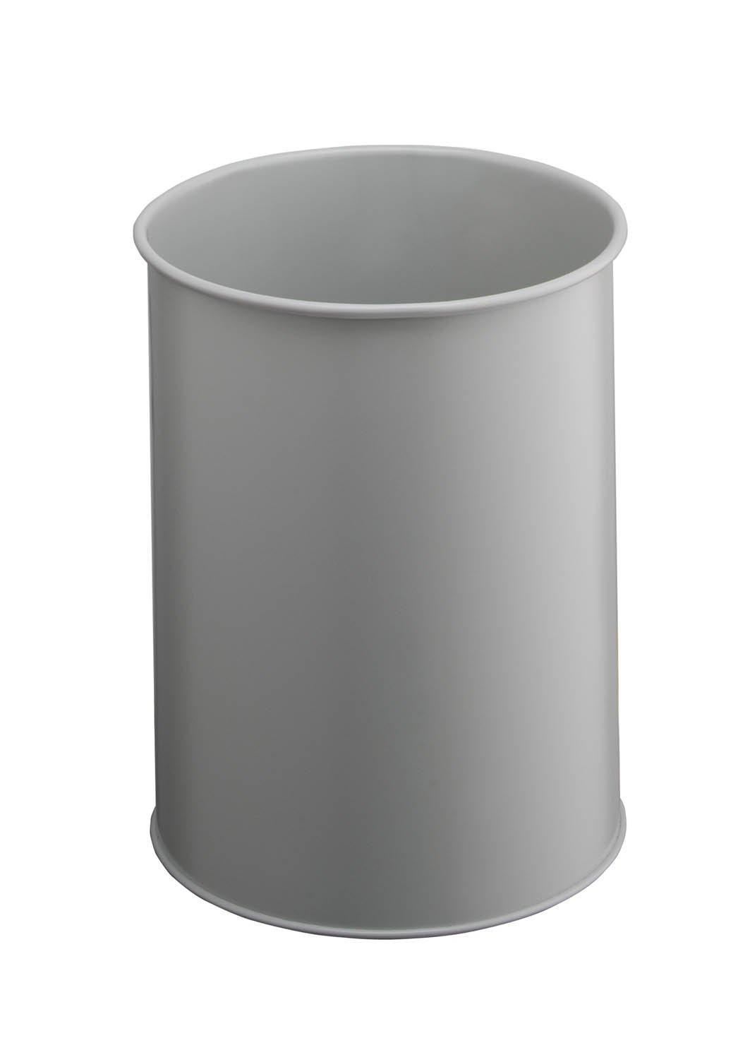 /Papelera de metal redondo gris mango borde 15/litros Durable 330110/