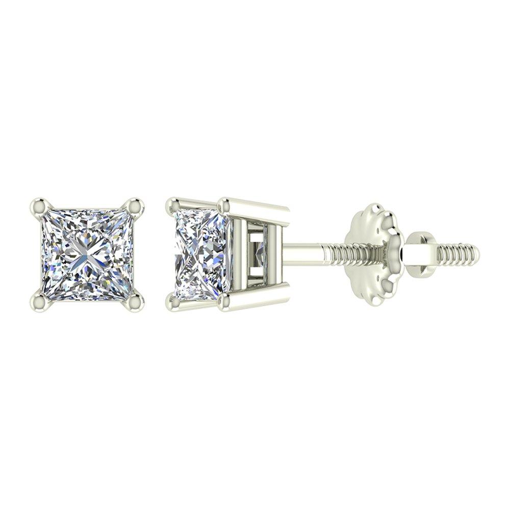Glitz Design GDPCE5001 Princess Cut Diamond Earrings 14K Gold Studs Natural Earth-mined Diamonds G,VS1
