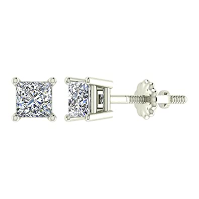 54ac3cf40 Diamond Earrings Princess Cut 14K White Gold Studs 1/4 carat total weight  Screw Back