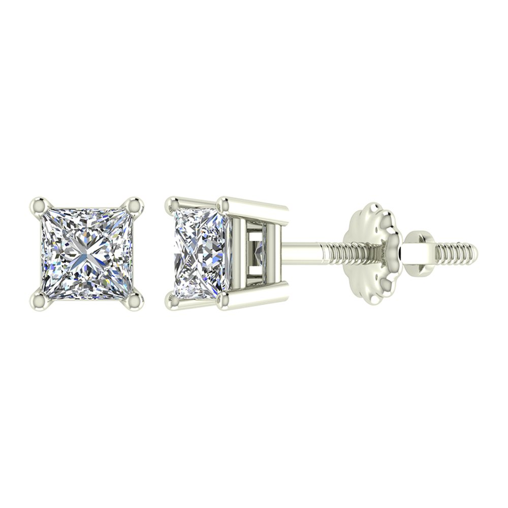1/4 ct tw I I1 Natural Princess Cut Diamond Stud Earrings 14K White Gold Screw Back