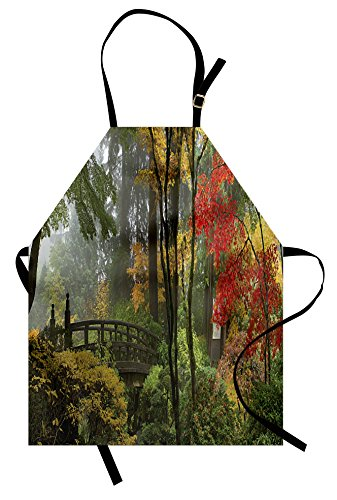 Lunarable Landscape Apron, Wet Wooden Bridge at Portland Japanese Garden Oregon in Autumn Season, Unisex Kitchen Bib Apron with Adjustable Neck for Cooking Baking Gardening, Paprika Green Brown -
